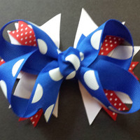 Red, White, & Blue Handmade Fourth of July Hair Bow