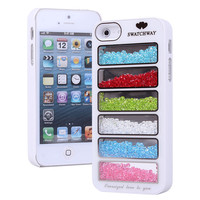 New Bling Rainbow Element Crystal Phone Cover Case For iPhone 4/4s-white