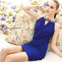 New Womens Solid Blue Charming Sleeveless Keyhole Cocktail Party Mini Dress 6183