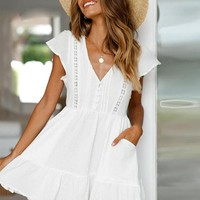 Fashion Elegant Short Dress Women Casual Holiday V Neck Pockets Beach Party Dress