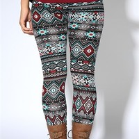 Turquoise and Wine Tribal Print Cotton Legging
