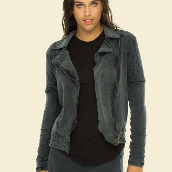 Indah Pizza Stonewash Zip Cotton Quilt Moto Jacket | Wolf | SALE