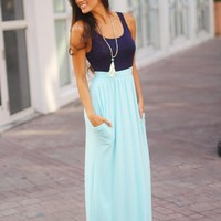 Navy and Blue Maxi Dress with Pockets