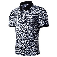 Mens Polo Shirt Brands Night Club Leopard Printed Turn Down Collar Short Sleeve Male Polo Homme Tees Tops