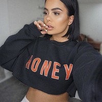 Hoodies Winter Alphabet Women's Crop Top Pullover T Shirts [167761608719]