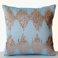 """Blue Decorative Throw Pillow Cover with Metallic Beige Sequin Intricate Embroidery in Ikat Pattern- Handcrafted Wedding Anniversary Housewarming Gifts - Throw Pillow Case for Sofa (14"""" x 14"""")"""