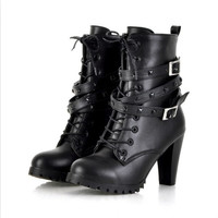 Plus Size Classic Hot Sale Detachable Rivets Belt Embellished Thick High Heels Boots Black = 1946059140