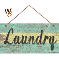 """Laundry Sign, Distressed Wood Style, Green and Yellow, Wall Art, Cleaning Sign, Laundry Room, Weatherproof, 5"""" x 10"""" Sign, Made To Order"""