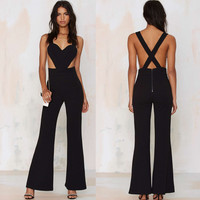 Black Heart Cut-Out Backless Flared Leg Jumpsuit