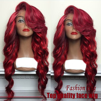 Brazilian Hair Long Wave Wigs Synthetic Lace Front Wigs