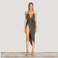 Sexy Fashion Army Green Dress Halter V neck Sleeveless Backless  Autumn Women Club Dresses Slit Side Bodyon Dress Vestidos