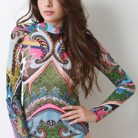 Abstract Paisley Semi-Sheer Mock Neck Bodysuit
