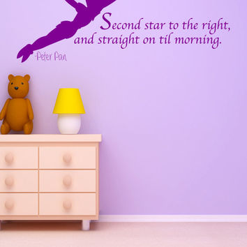 Peter Pan Wall Decal Art Sticker Decor Quote Vinyl Second Star to the Right Kids Chidlrens
