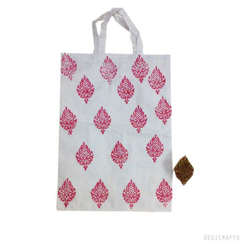 Handblock Printed Jhola Bag in Red and White