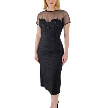 50s Black Beaded Embroidered Illusion Bodice Cocktail Dress-S