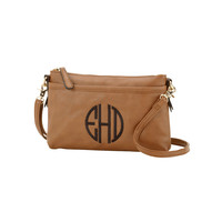 Camel Brown Bree Crossbody Purse with Initial, Monogram or Blank. Leather Like.