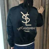YSL Fashion New Bust Letter Print And Back Letter Print Long Sleeve Top Coat jacket Women Black