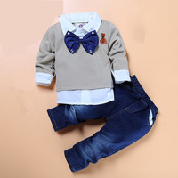 Boys Bowties Shirt/Sweater and Denim Pants Outfit Sets
