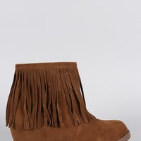 Suede Fringe Round Toe Hidden Wedge Booties