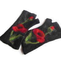 Felted mittens, Poppy mittens Hand felted fingerless mittens, felted long gloves, felted wirst warmers, black red flower  gloves, mittens