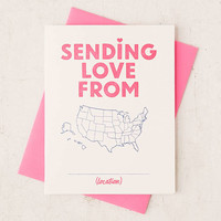 Greenwich Letterpress Sending Love From Greeting Card - Urban Outfitters