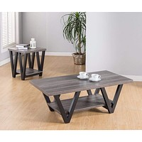 Coffee & End Table With One Shelf, Set Of 2, Gray -Benzara