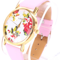 Pink Faux Leather Round Face Floral Print Watch