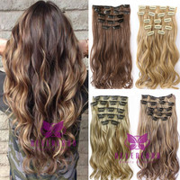 7pcs/set Clip In Hair Extension 22inch Long Curly Wavy Hair Pieces