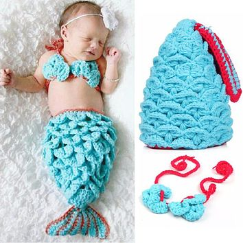 borns Baby Photography Props Animals Infant Mermaid Costume Hat Kids Clothes Set born Props