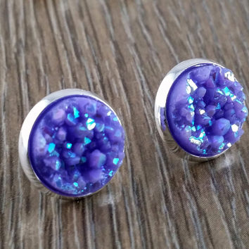 Druzy earrings- ab light purple drusy silver tone stud druzy earrings