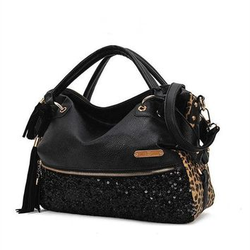 CREYCT9 Leopard Big Capacity Tote Bag Shoulder Bag [10486011348]