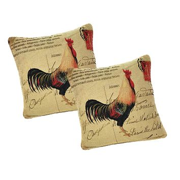 DaDa Bedding Set of Two Glamorous Rooster Throw Pillow Covers w/ Inserts - 2-PCS - 18""