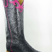 Anderson Bean Black FQ Ostrich Silver Tooled Cowgirl Boots