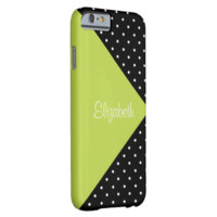 Monogram Apple Green, Black Polka Dots Color Block Barely There iPhone 6 Case