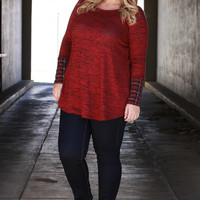 Let's Get Lost Heathered Tunic With Plaid Accent ~ Burgundy ~ Sizes 12-18