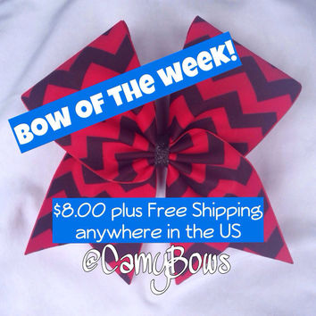 Chevron Cheer Bow Red and Black - Bow of the Week