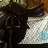 Monogrammed Saddle Pad-Teal Vines Circle Applique by Brax Designs
