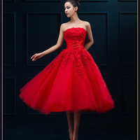 Evening Dress New Arrival Red Lace Strapless The Bride Married Banquet Party Formal Dress Elegant Short Prom Dresses