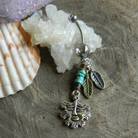 Tribal Abstract Face Belly Ring