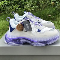 Balenciaga Triple S Clear Sole White/ Blue/ Purple Trainers Oversized Multimaterial  sneakers with air bubble inside the sole