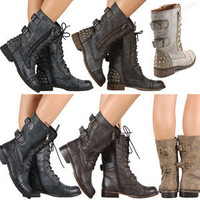 New Women Military Combat Boot Lace Up Buckle New Women Fashion Boots Shoes Size