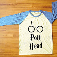 DESIGN 3 -- Pott Head T-Shirt Harry Potter Shirt Hogwarts Shirt Raglan Blue Sleeve Women Shirt Men Shirt Unisex Shirt Baseball Shirt S,M,L