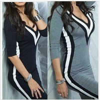 The New Fall And Winter Women Clothing Fashion Personality Stripe Printed V-neck Dress Sexy 3-color Stitching Tight Dress