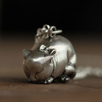 Handmade 3D Silver Cat Pendant, Silver Lovely Cat Pendant, Anniversary, Birthday, Wedding, Christmas, Gift