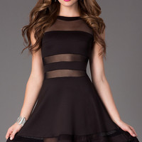 Short Sleeveless Illusion Cut Out Dress