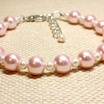 Feminine and Delicate Pale Pink and White Glass Pearl Dog or Cat Jewelry.  Baby Pink and White Two Size Bead Kitten or Puppy Jewelry.