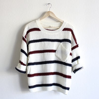 chunky oversized stripe knit boyfriend sweater