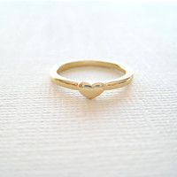 tiny gold heart ring valentine's day gift for her by SeoulLittle