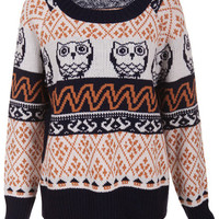 "ROMWE | ""Knitted Owl Snowflake Pattern"" Orange Jumper, The Latest Street Fashion"