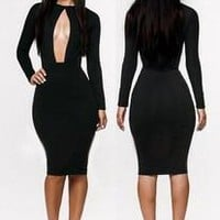 Slim Bandages Prom Dress Dress Sexy Women's Elegant Black One Piece Dress [9266835532]